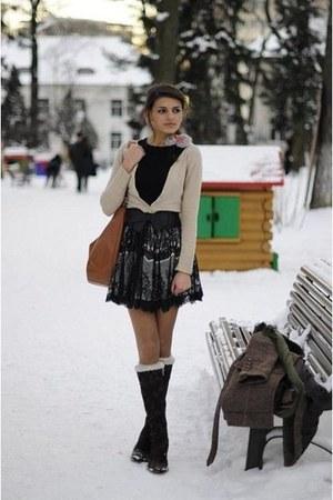 dark brown boots - brown coat - black shirt - peach blouse - neutral accessories