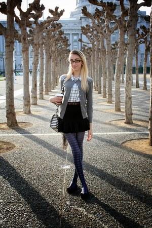 plaid Forever 21 tights - stripes kate spade bag - plaid Forever 21 blouse