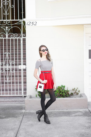 skater Forever 21 skirt - booties Boohoo boots