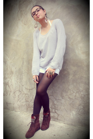 boots - SM tights - trafaluc shorts - Aldo accessories - Wet Seal intimate