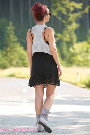 gray vest - black dress - gray shoes - sunglasses