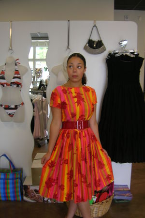 orange handmade dress - red belt