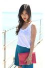 Envelope-sportsgirl-bag-teal-zara-shorts-chartreuse-zara-sandals
