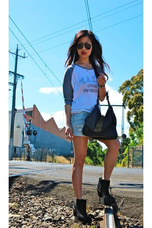 Alexander Wang bag - friend of mine boots - sass & bide shorts - Chaser t-shirt