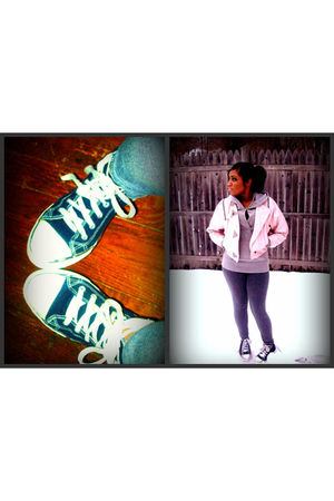 pink jacket - blue flair shoes