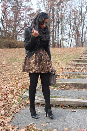dark brown Zara skirt - black Forever21 jacket - black Marshalls tights