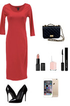 black Danice Stores purse - red bodycon dress Danice Stores dress