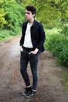 black denim H&M jeans - navy denim Levis jacket - white H&M t-shirt