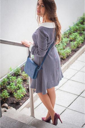 heather gray nanetty dress - blue Vitalie Burlacu bag - brick red Zara heels