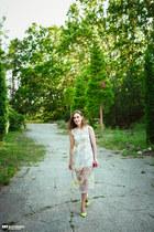 yellow new look heels - light yellow zaful dress - hot pink SIX bag