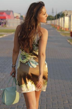 brown dress - chartreuse Bershka heels