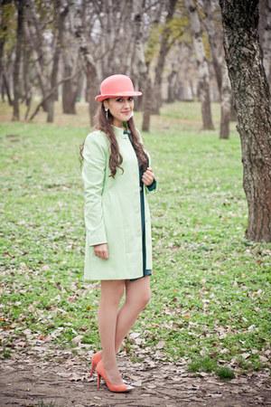 chartreuse Orsay coat - dark green promenade dress - light orange H&M hat