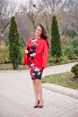 red asos dress - ruby red Zara shoes - red H&M jacket