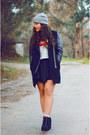 Black-sheinside-coat-black-romwe-skirt-periwinkle-lefties-hair-accessory