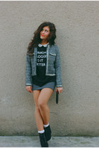 charcoal gray Sugarlips jacket - gray Bershka dress - black Bershka bag