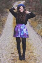 blue romwe skirt - blue romwe hat - black Lefties sweater - black Seaside wedges
