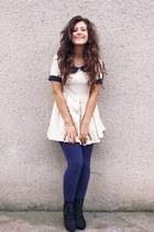 black Seaside boots - eggshell romwe dress - navy Bershka leggings
