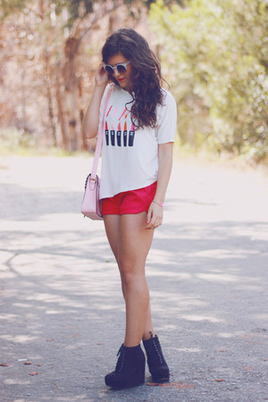 white chicnova top - bubble gum MochiBeaucoup bag - hot pink romwe shorts