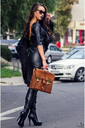 burnt orange bag - black dress - black coat - sunglasses