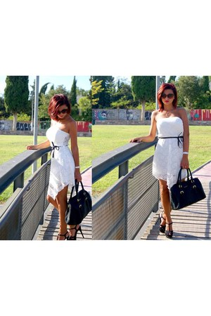 white dress - black bag - black heels - necklace - bronze glasses - white watch