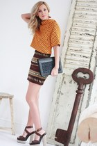 Zara skirt - black Moon purse - brown YSL sandals - light orange H&M top