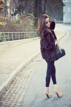 brown coat - beige boots - black tights - River Island scarf - black purse