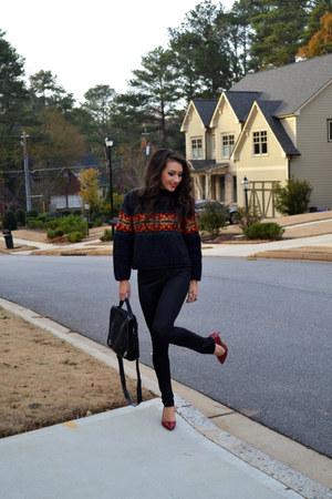 black sweater - black tights - black bag - crimson heels