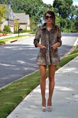 sunglasses - white heels - cardigan