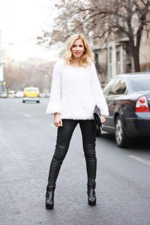 white Irenka blouse - black asos boots - black sparkles Zara purse