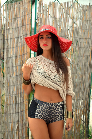 red hat - eggshell blouse - black swimwear - bracelet