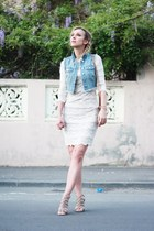 denim H&M vest - white Pnk Casual dress - vintage bag - Zara sandals