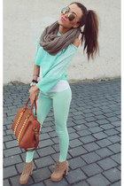 aquamarine t-shirt - bronze Jeffrey Campbell boots - white shirt
