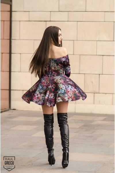 black black leather boots - dress