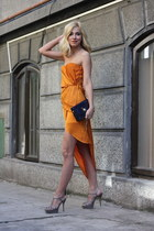 orange H&M dress - black H&M jacket - black purse - silver Why Denis sandals