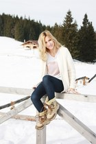 white H&M sweater - tan Office Shop boots - Zara jeans
