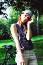 cap H&M hat - corduroy H&M pants - necklace H&M necklace