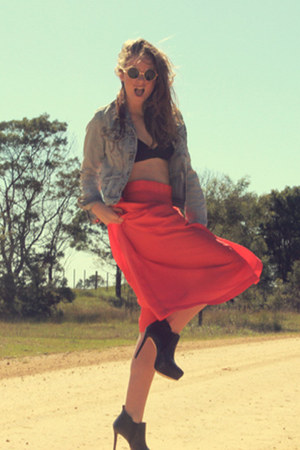 maxi skirt vintage skirt - bralette H&M bra - leather Zara heels