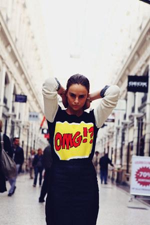 pop art Primark sweater - faux leather riverisland skirt - leather Zara heels