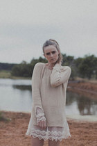 lace sammydress sweater - white H&M heels - gold look H bracelet