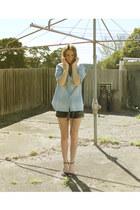 blouse Dotti shirt - faux leather H&M shorts - Zara heels