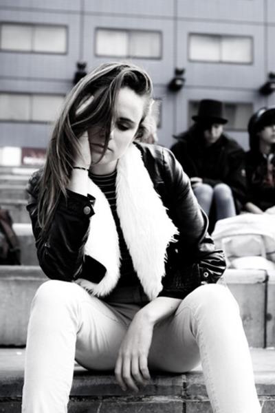 leather jacket H&M jacket - faux fur face off jacket - corduroy H&M pants