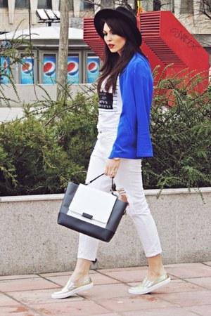 Zara jeans - c&a hat - blue Bershka blazer - off white Zara t-shirt