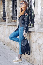 black GAMISS jacket - navy Zara jeans - black zaful sunglasses