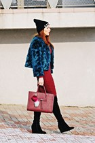 teal Sheinside coat - ruby red pull&bear dress - black F&F hat