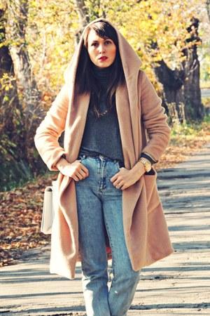 camel wool rosewe coat - blue Bershka jeans