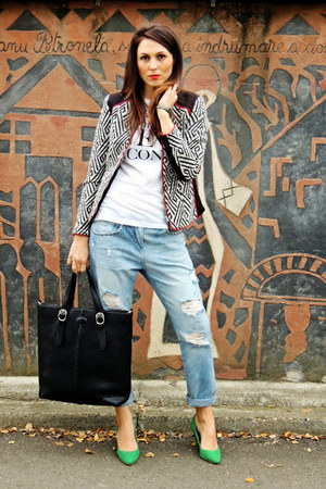 black H&M jacket - green H&M shoes - sky blue boyfriend Zara jeans