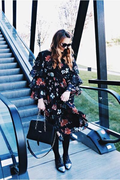 navy custom made dress - black Anna Cori bag