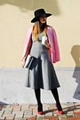 Heather-gray-zara-dress-black-unknown-brand-hat