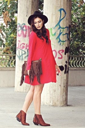 brown AmiClubWear boots - red Zara dress - dark brown Rena bag