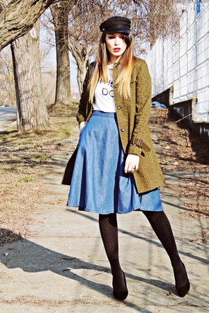 dark khaki trench coat Zara coat - blue denim Stradivarius skirt